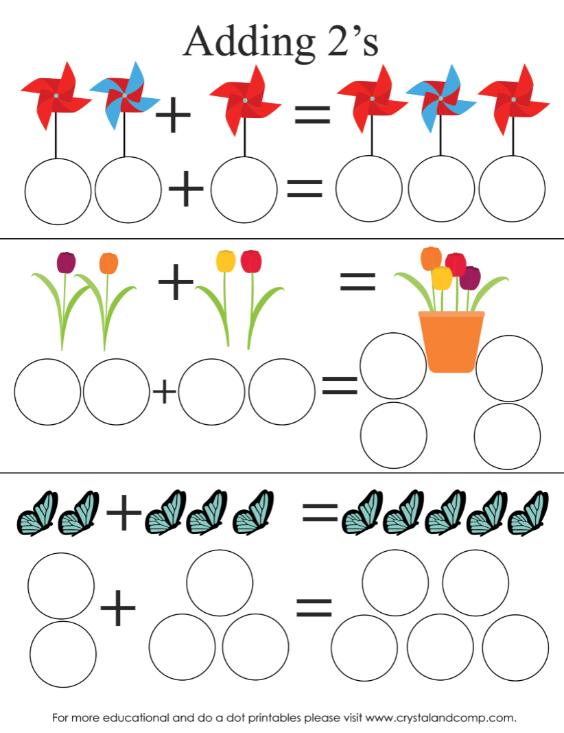 spring do a dots adding by 2s