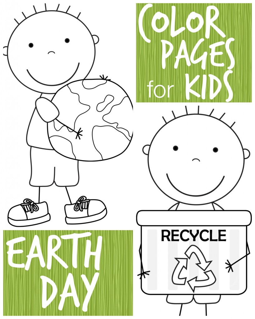 Color Pages for Kids: Earth Day Boys