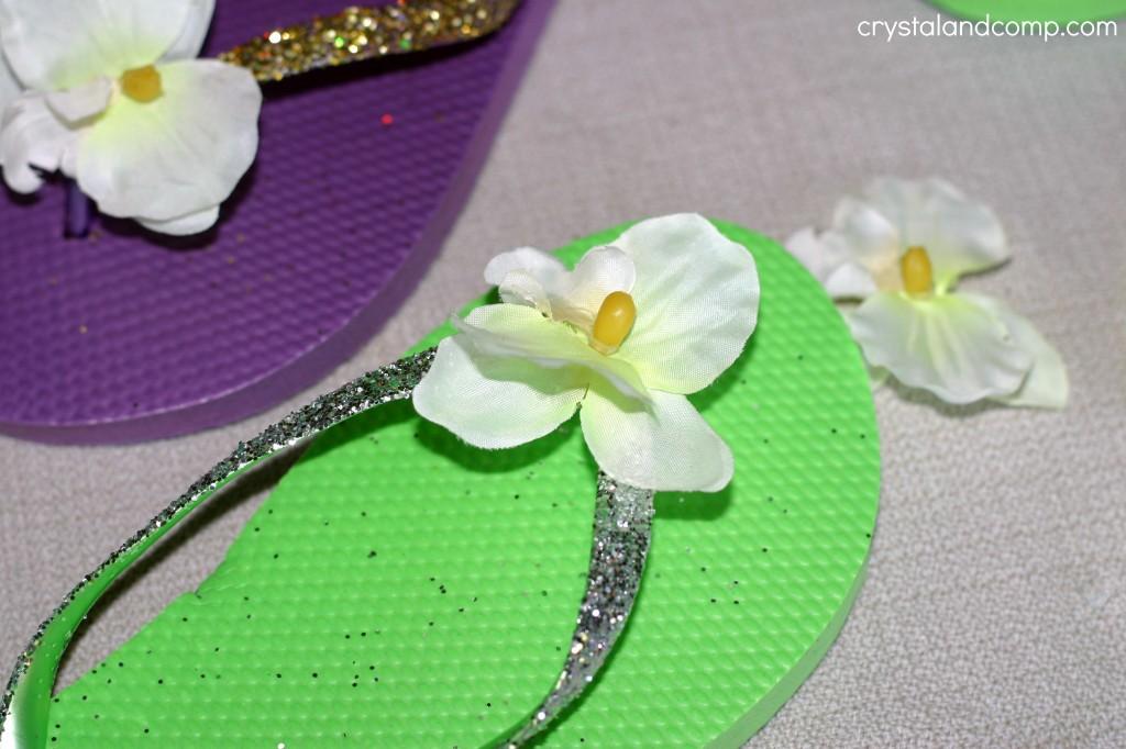 diy glitter flower flip flops