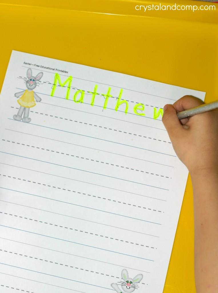 name practice for preschoolers Easter printable