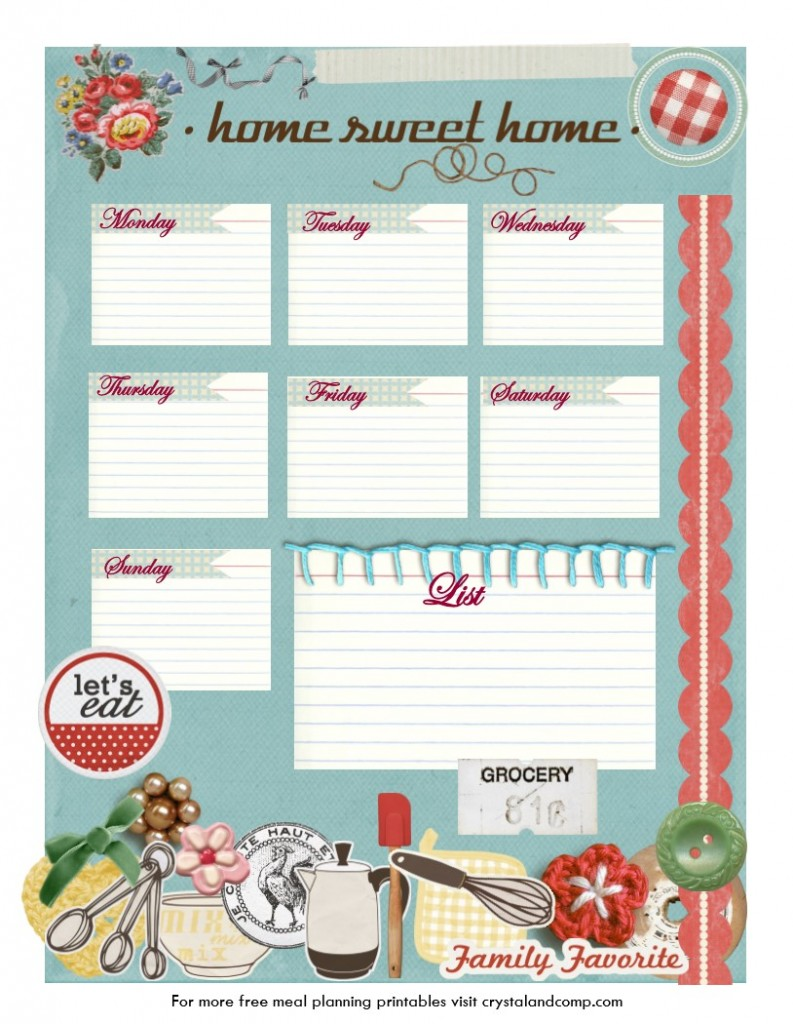 printable weekly meal planners