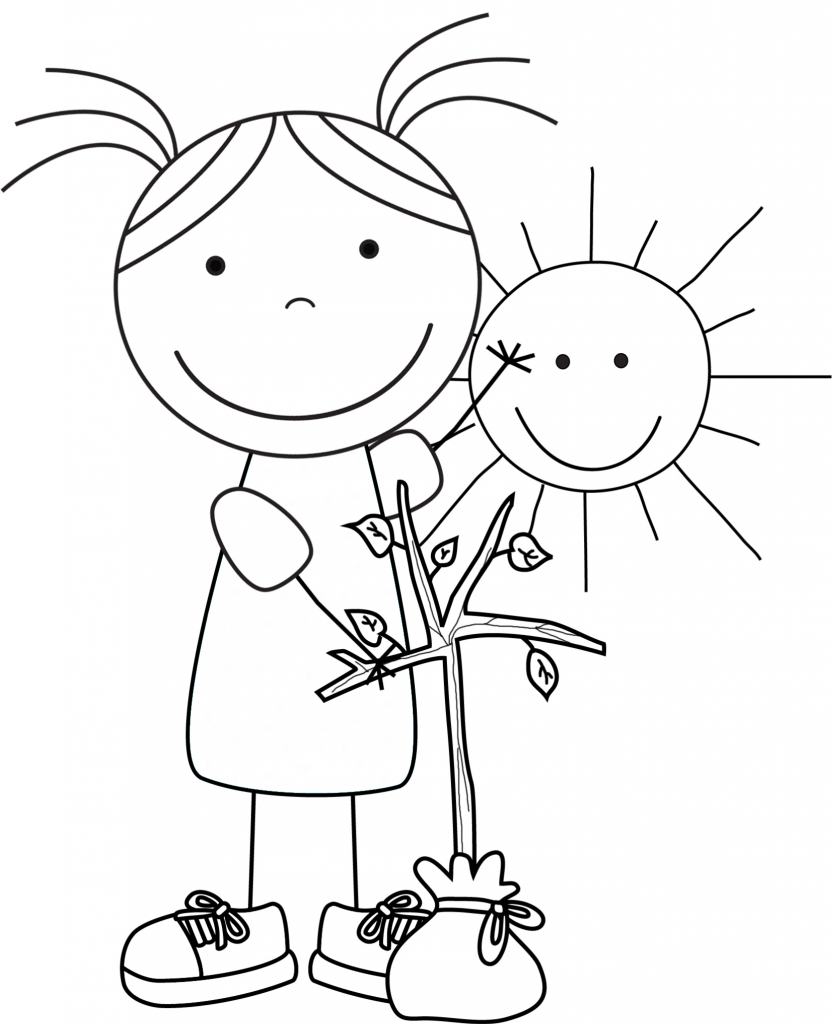 Coloring Pages For Girls: Kid Color Pages: Earth Day For Girls