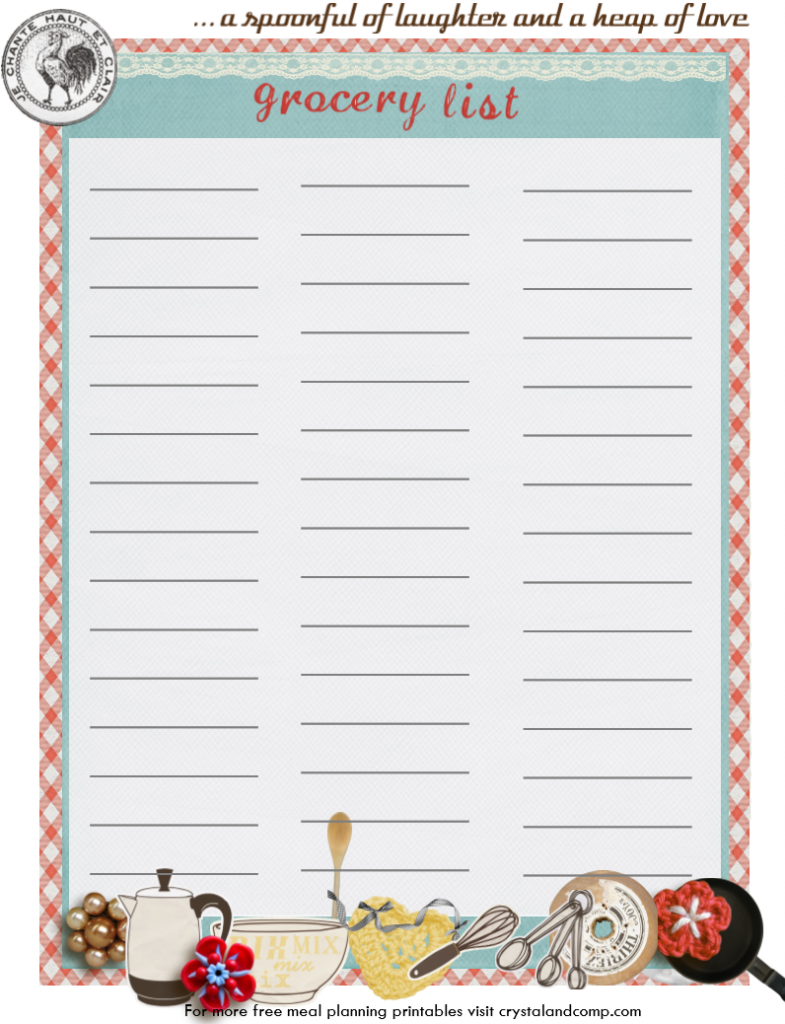 grocery list printable: vintage