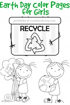 kid color pages earth day for girls