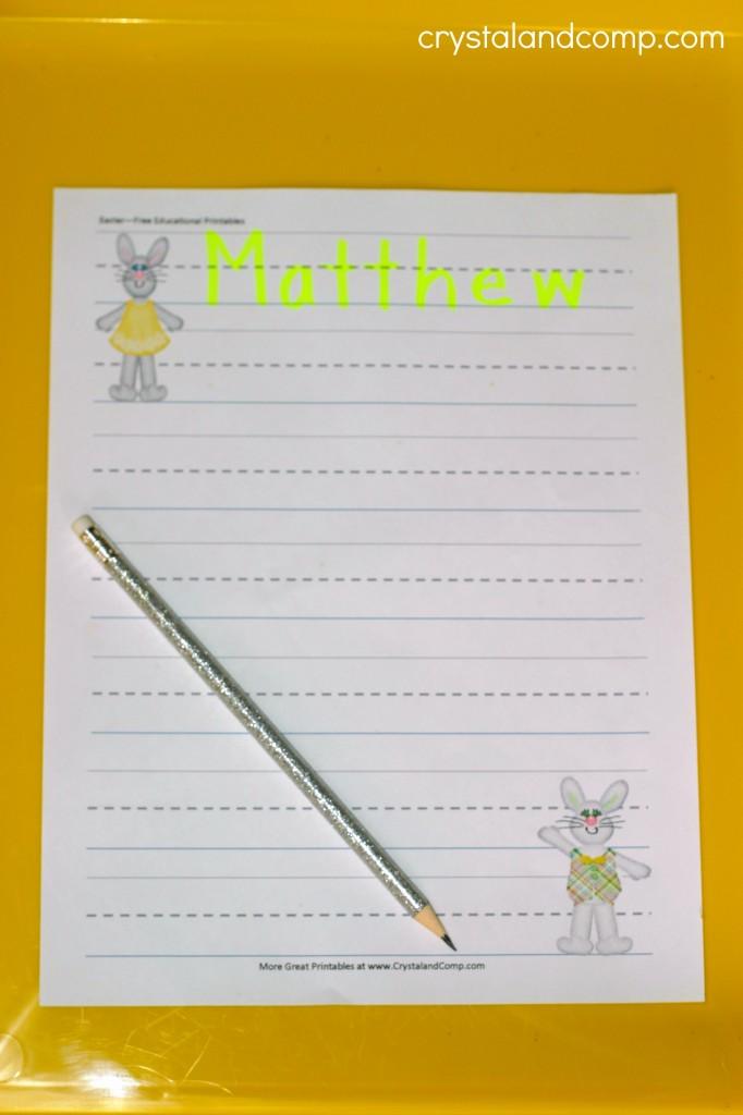name practice for preschoolers easter printable