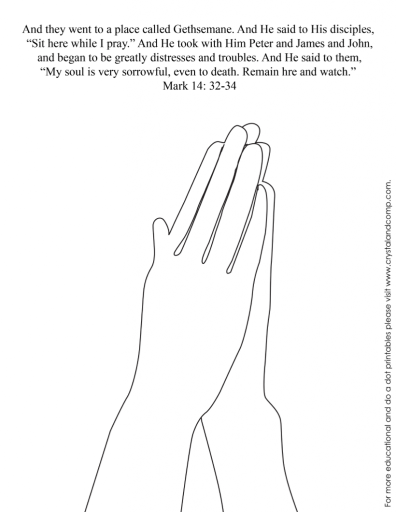 kid color pages for easter - Jesus Praying Hands Coloring Page