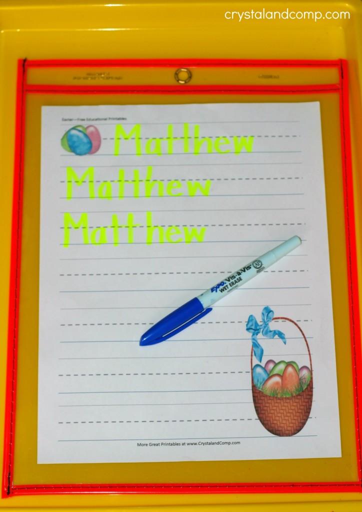 preschool name practice easter theme