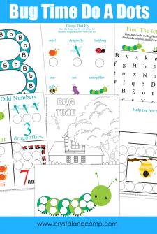 Preschool Do a Dot Printables: Bugs