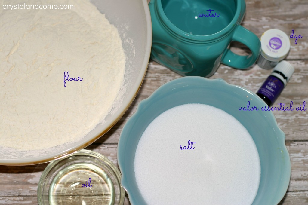ingredients for Calming Homemade Play Dough Recipe for Kids
