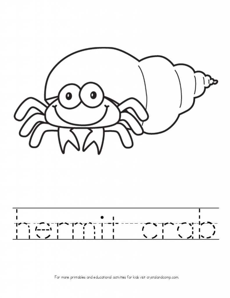 kid color pages hermit crab
