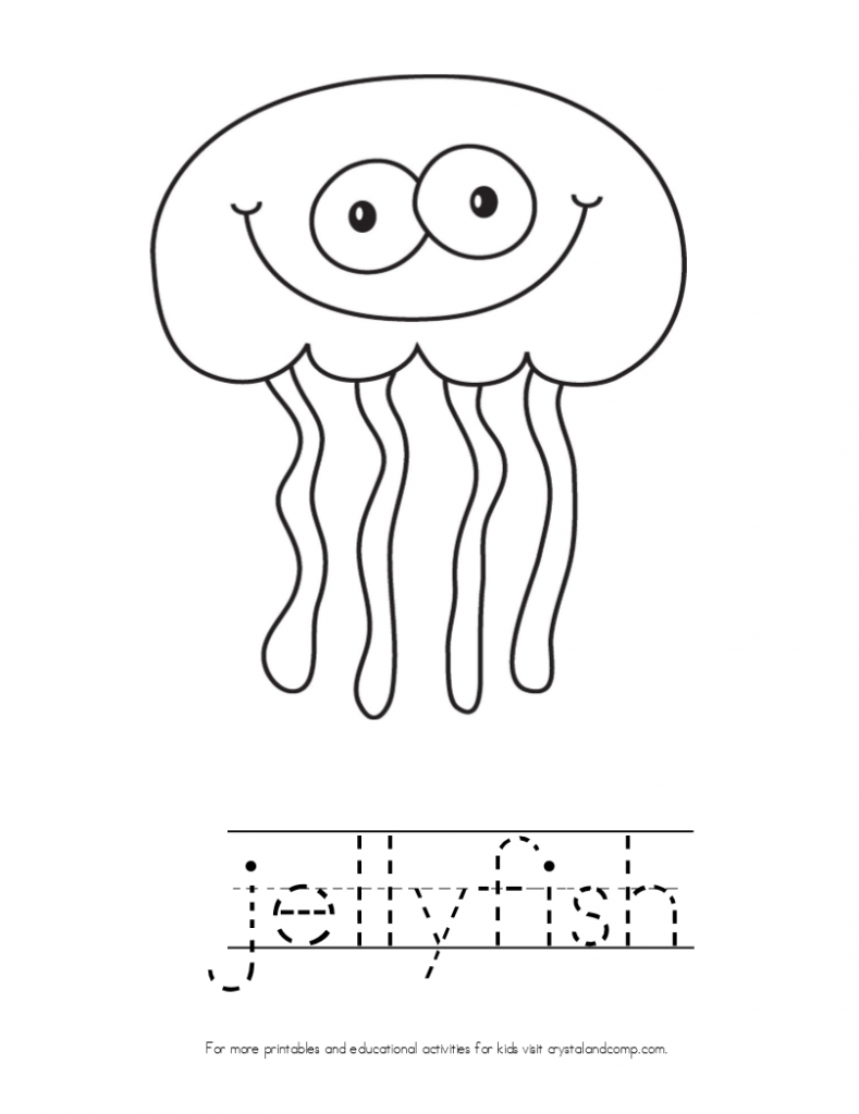 kid color pages jellyfish