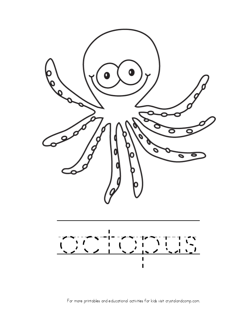 O Octopus Coloring Page Kid Color Pages: Ocean...