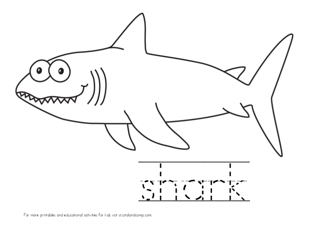 kid color pages shark