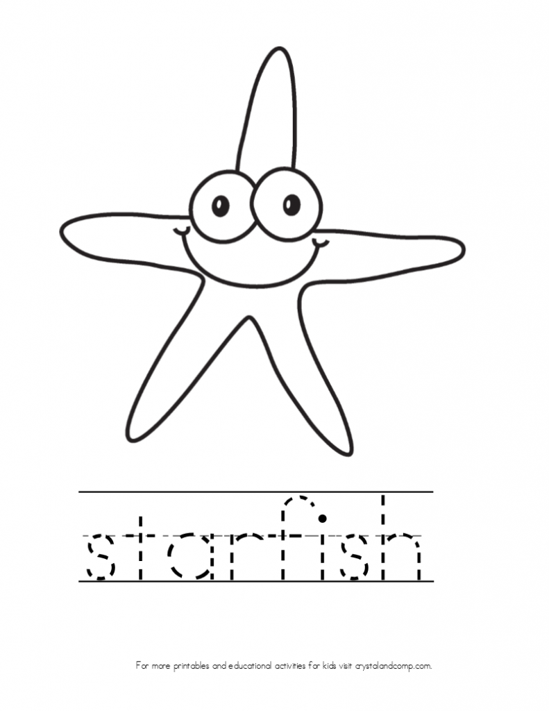 kid color pages star fish