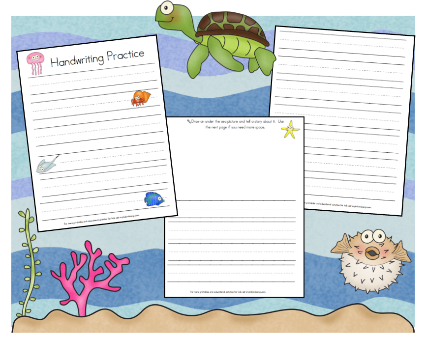 under the sea handwriting sheets all three pages