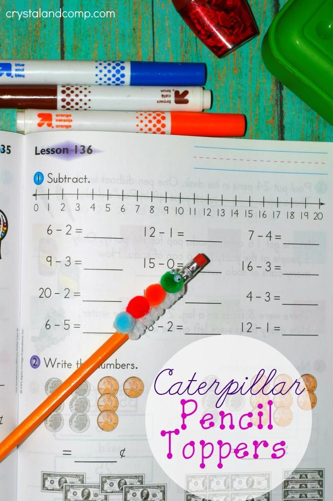 DIY caterpillar pencil toppers