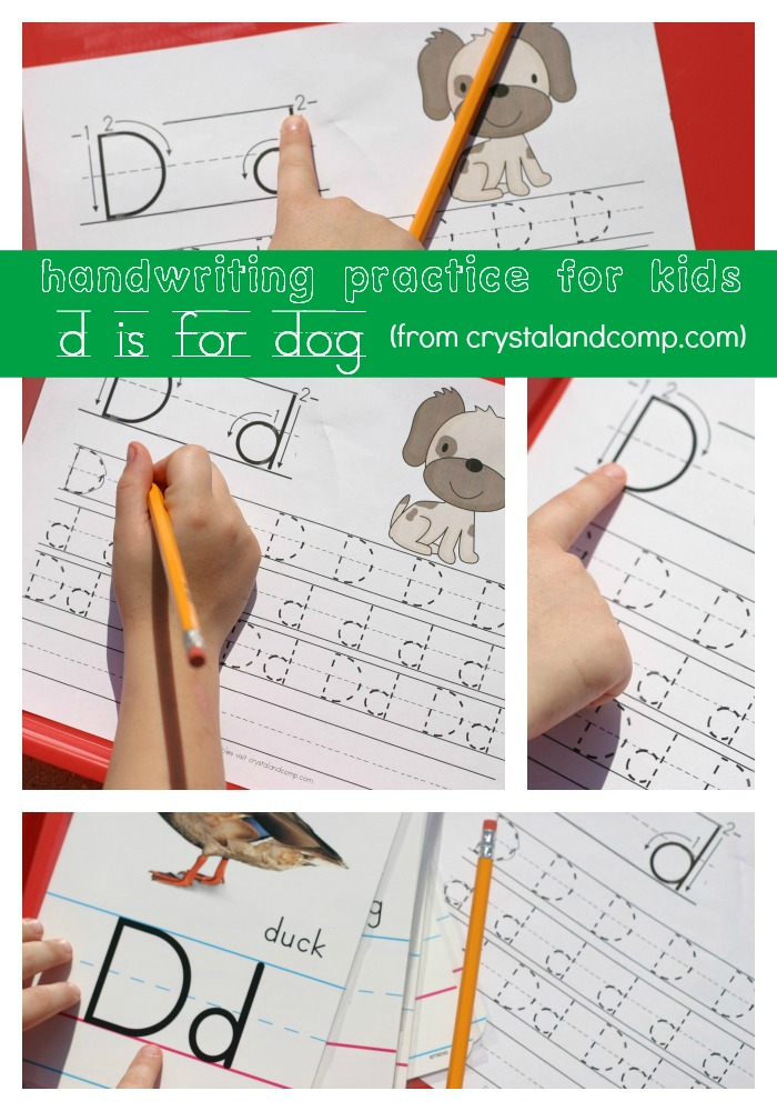 handwriting practice for kids d is for dog