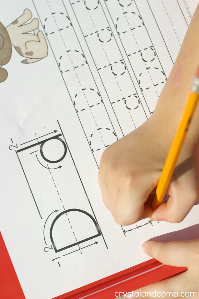 handwriting practice for kids for the letter d