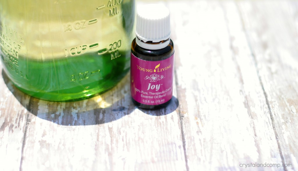 homemade bubble recipe adding Joy essential oils