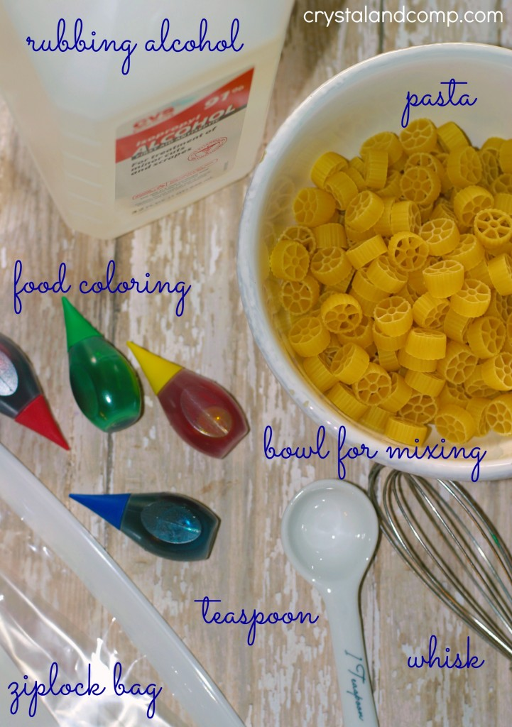 supplies needed to dye pasta with rubbing alcohol