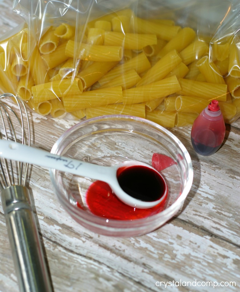 use alcohol and food coloring to dye pasta