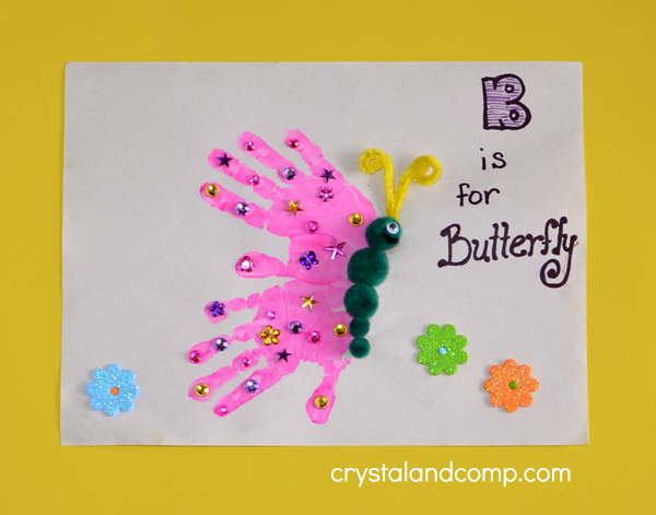 Hand print art b is for butterfly for Butterfly hands craft