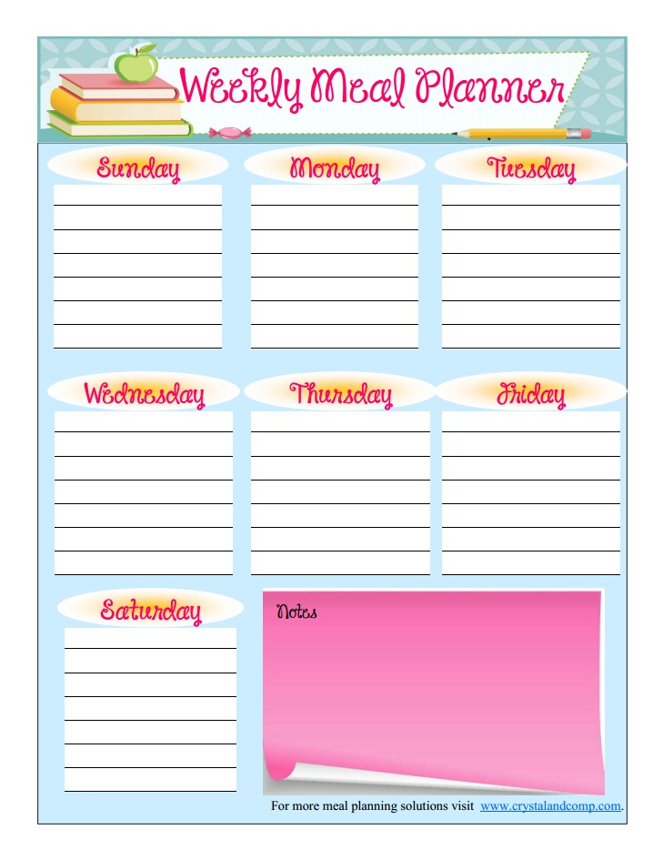 free printable meal planner back to school