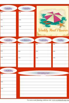 free printable meal planner august 2014