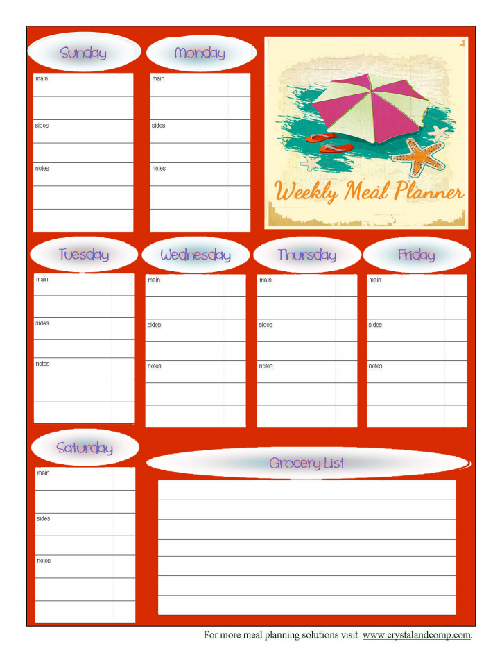 free printable meal planner august 2014