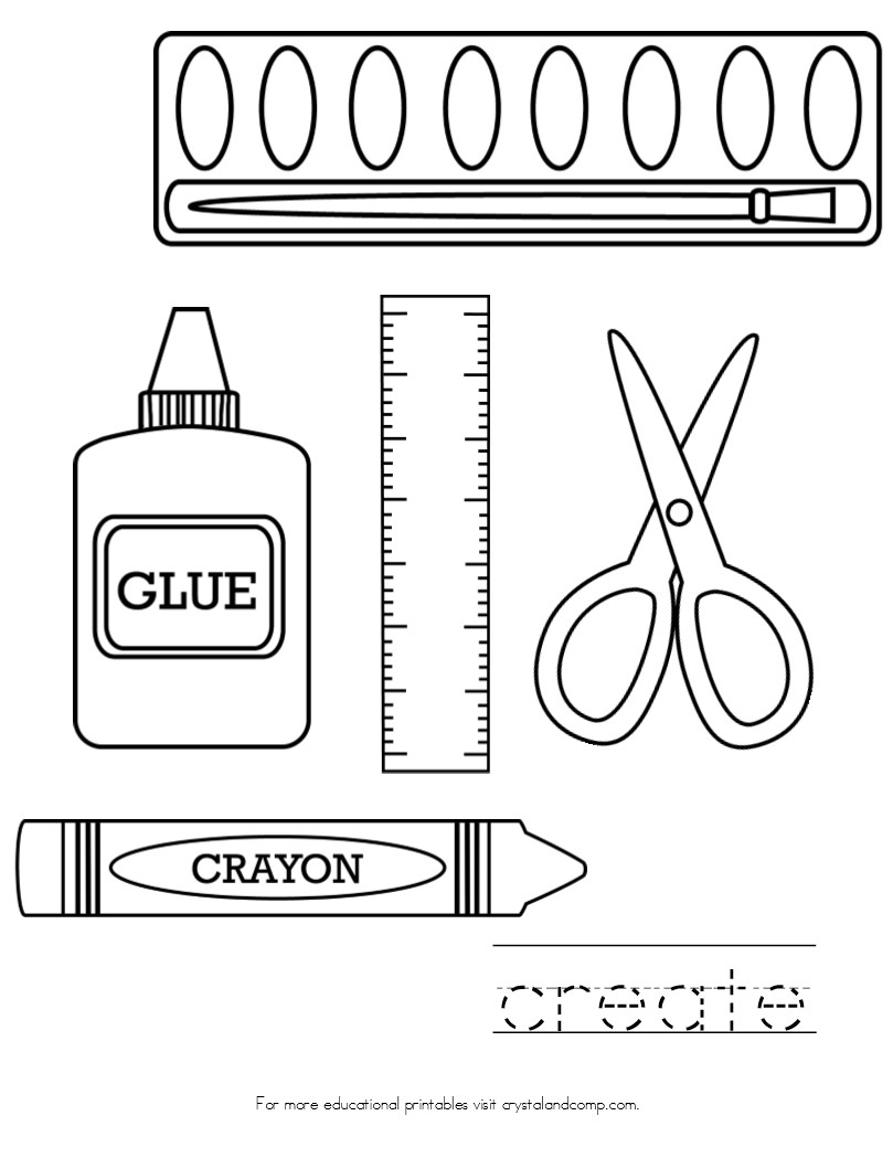school stuff coloring pages - photo#14