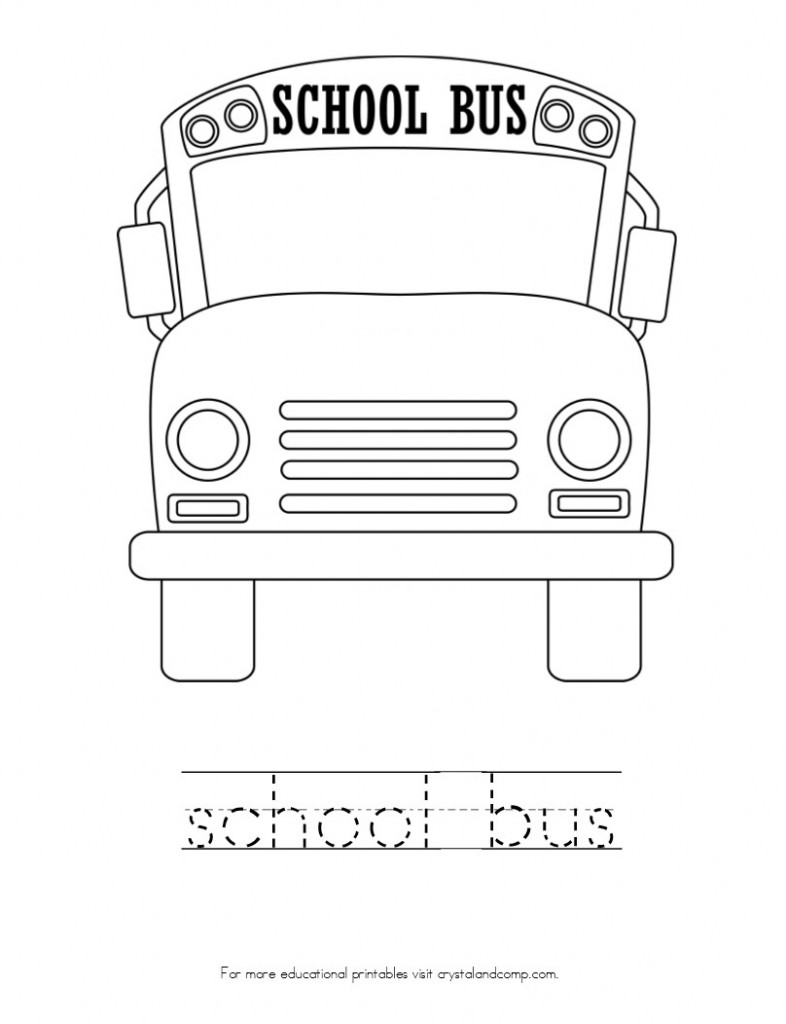 kid color pages school bus