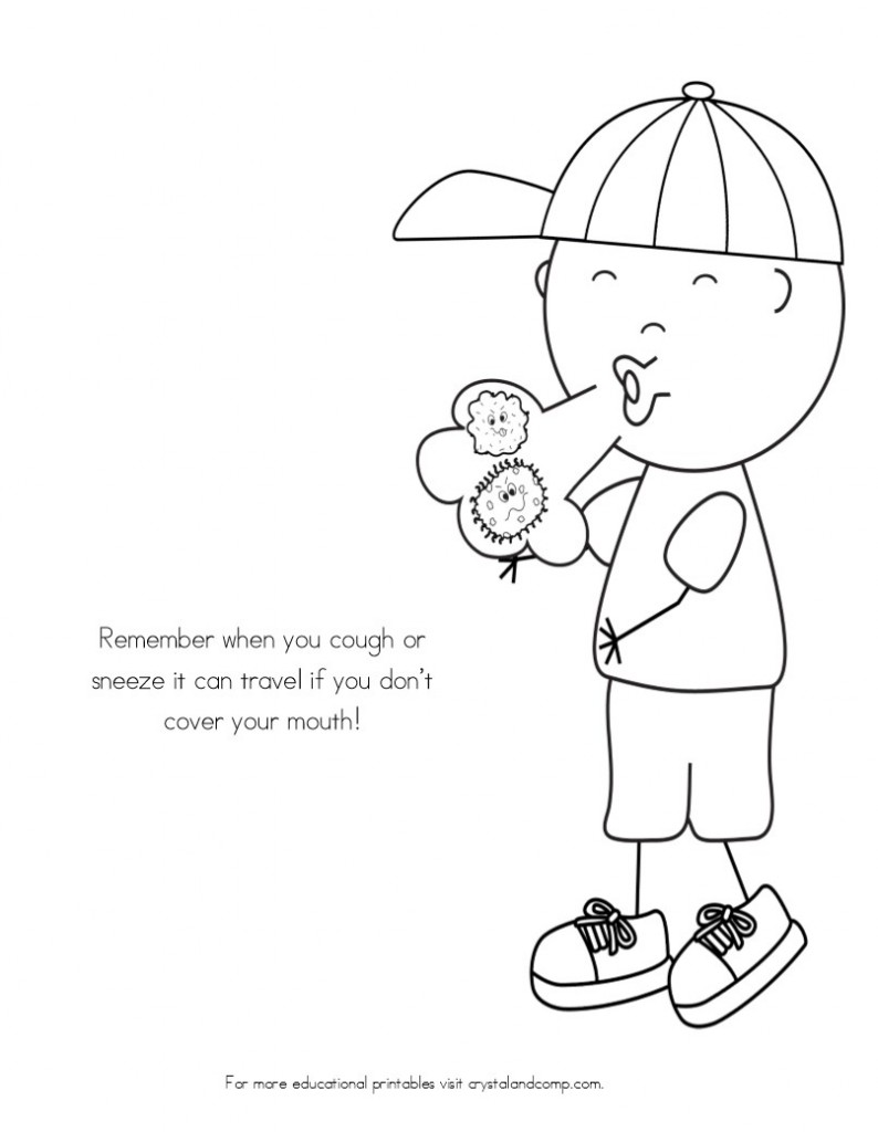 kid color pages sick day spreading germs - Kids Colouring Pages Free