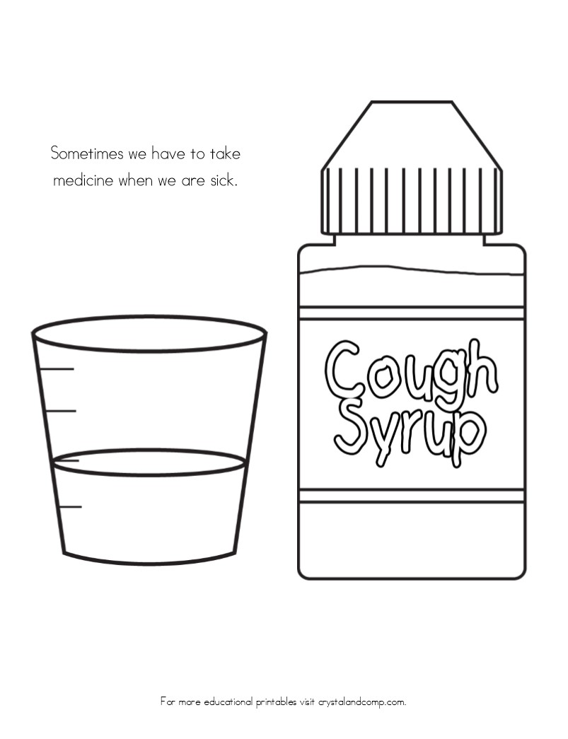 Coloring pages for doctors - Kid Color Pages Sick Day Cough Medicine
