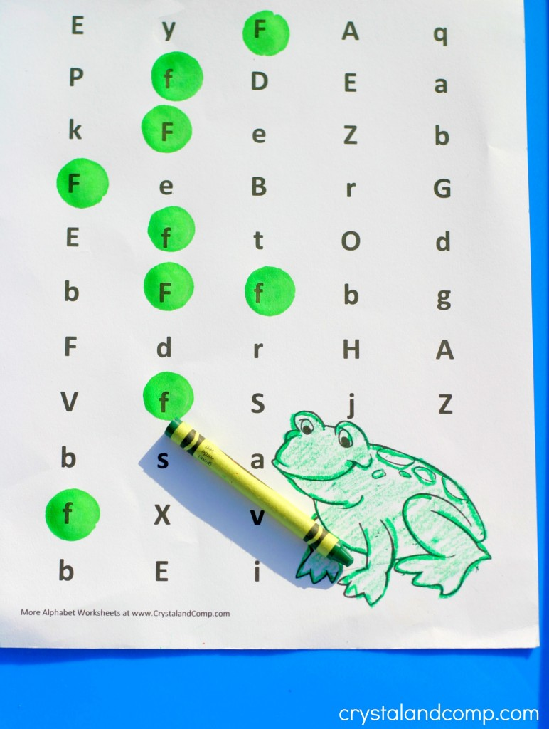 Preschool Letter Worksheets: F is for Frog