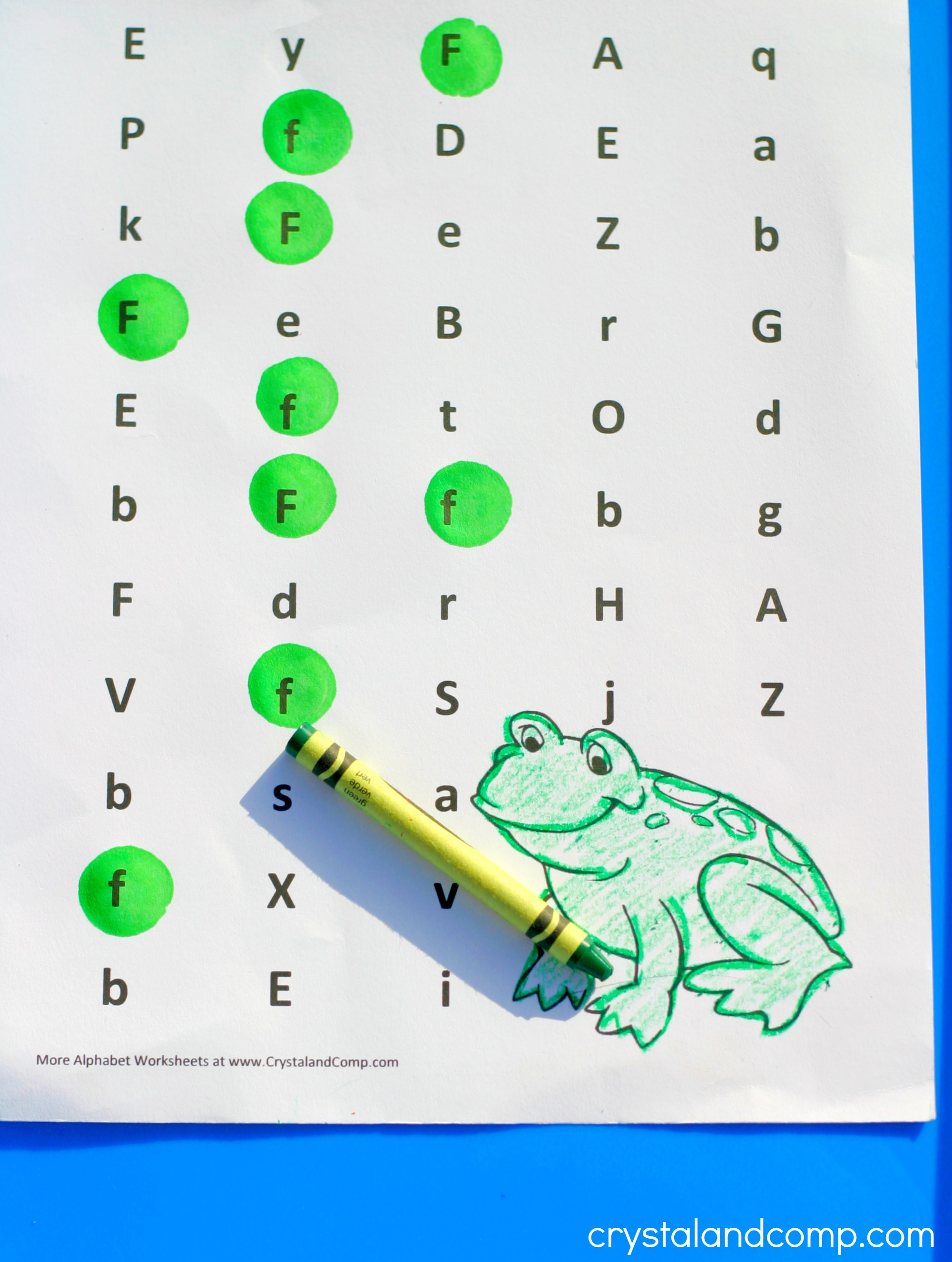 Preschool Letter Worksheets: F is for Frog
