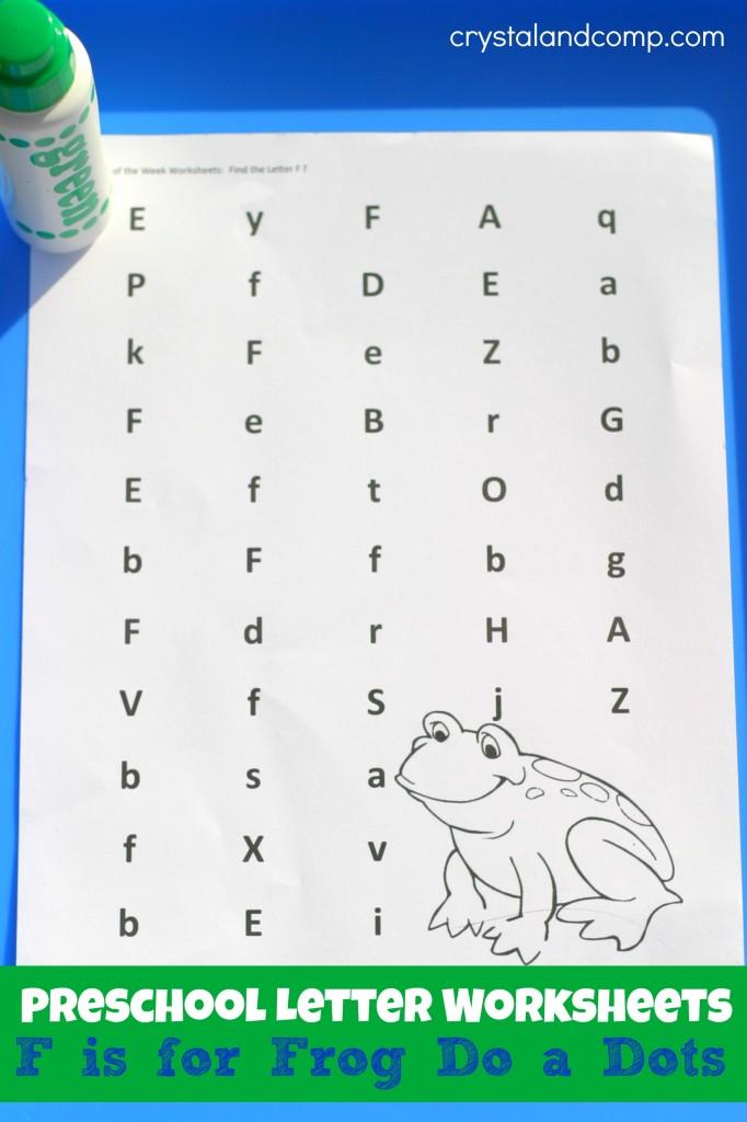 Preschool Letter Worksheets F Is For Frog