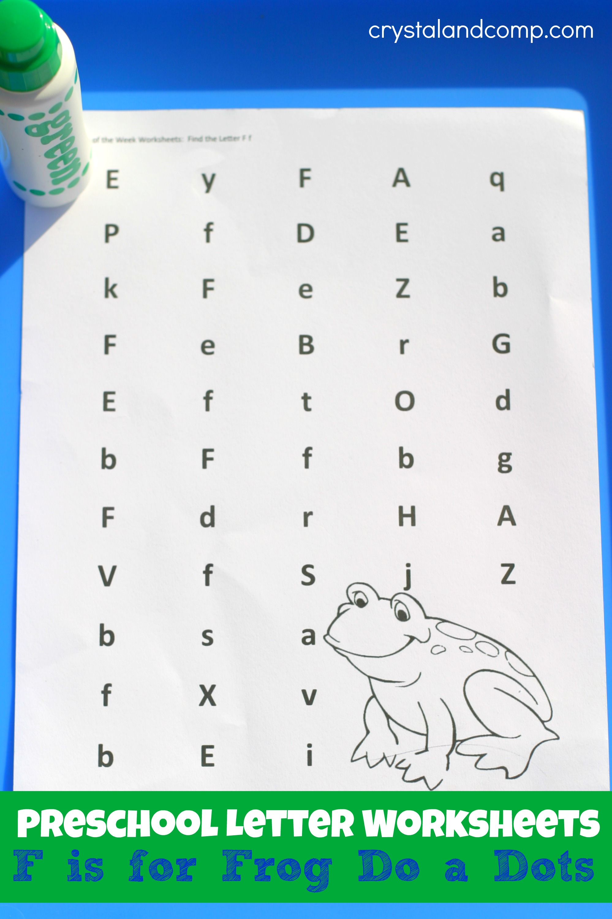 preschool letter worksheets f is for frog. Black Bedroom Furniture Sets. Home Design Ideas