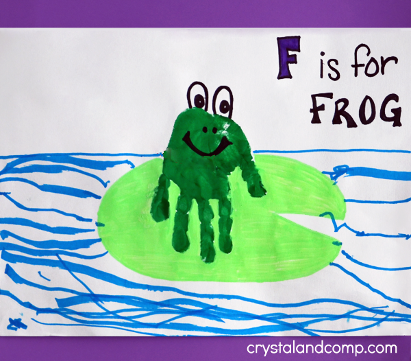 hand print art f is for frog
