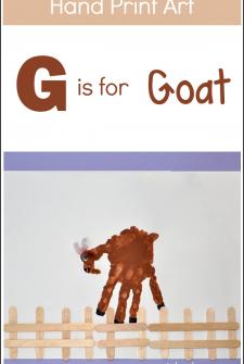 Hand Print Art: G is for Goat