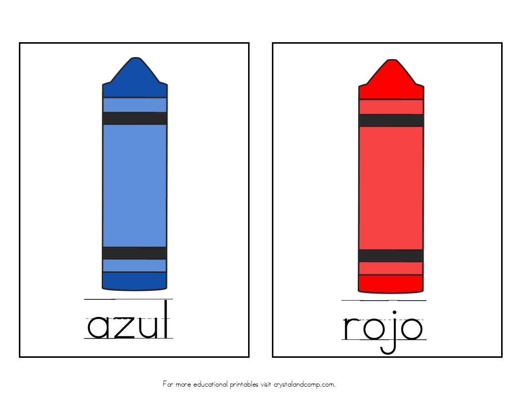 Color crayon printables - Azul Is Blue Rojo Is Red