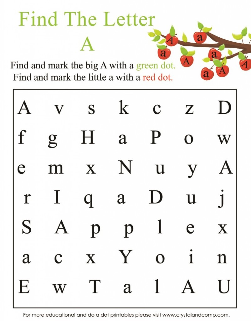 worksheet Letter A Worksheets For Preschoolers preschool do a dot printables is for apple find the letter dot
