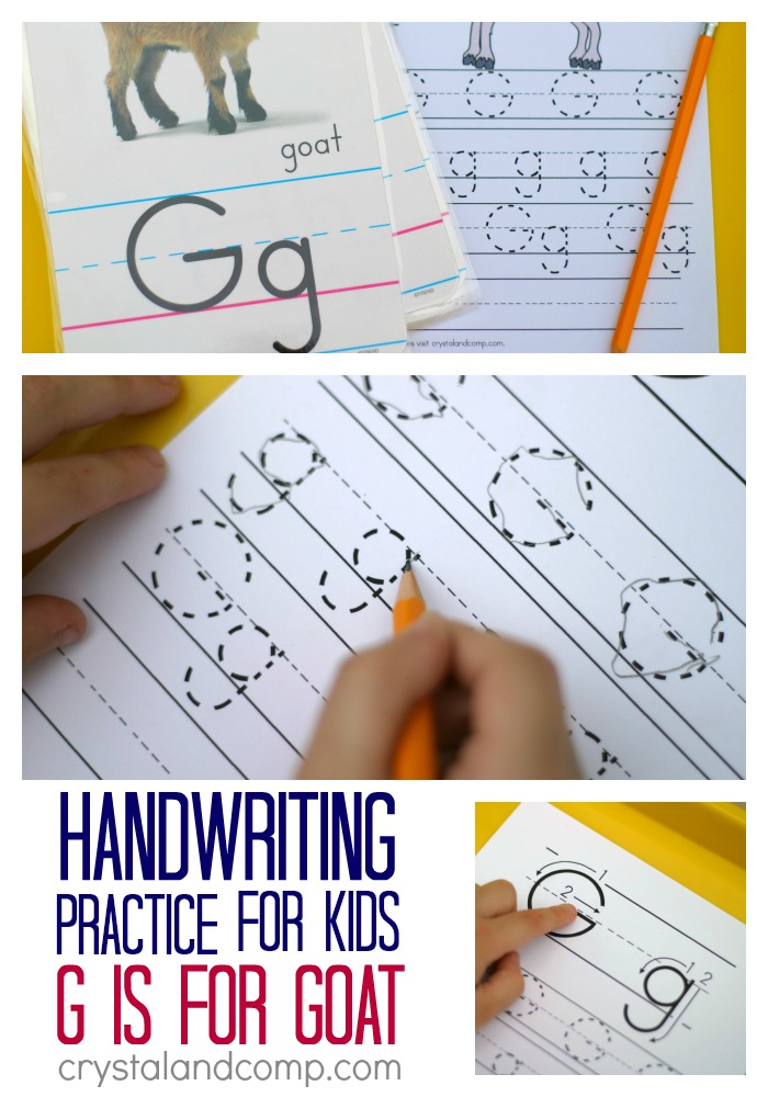handwriting practice for kids g is for goat