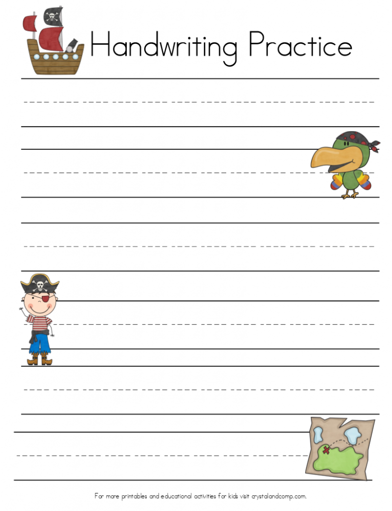 handwriting practice for kids pirate vocabulary page