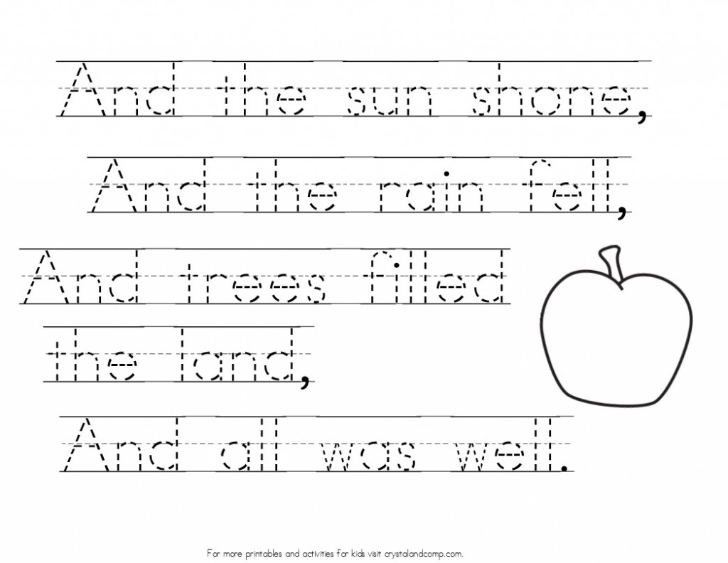 johnny appleseed poem handwriting practice for kids