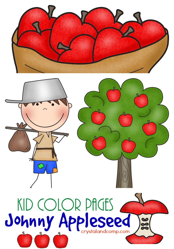 kid color pages johnny appleseed free printables