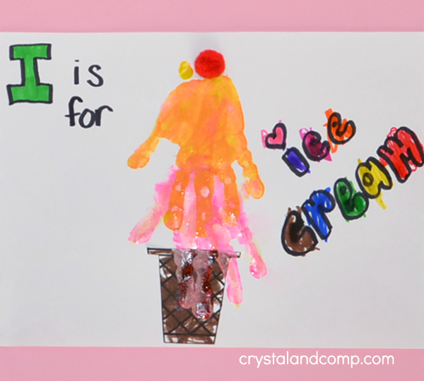 Hand Print Art: I is for Ice Cream Cone