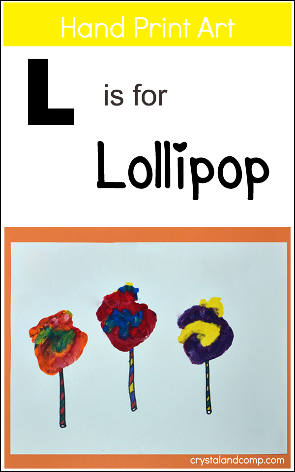 Hand Print Art: L is for Lollipop