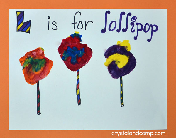 L is for Lollipop Hand Print Art