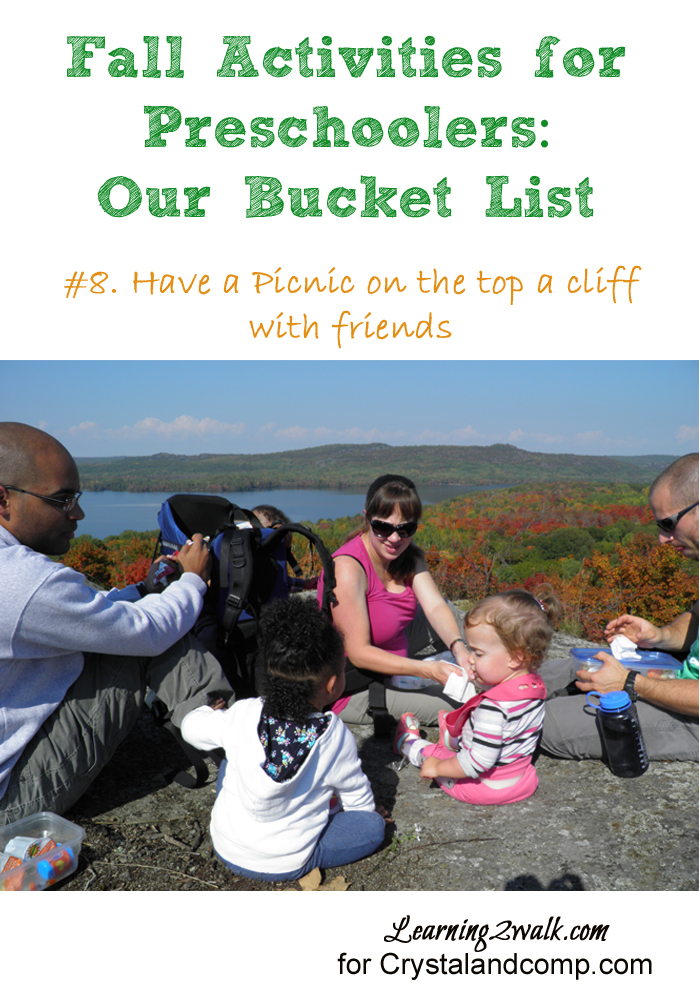 fall activities for preschoolers- have a picnic on a cliff with friends