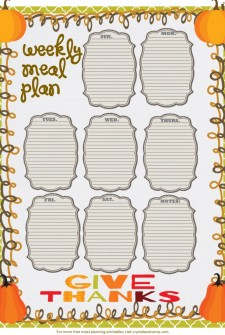 free printable meal planner give thanks